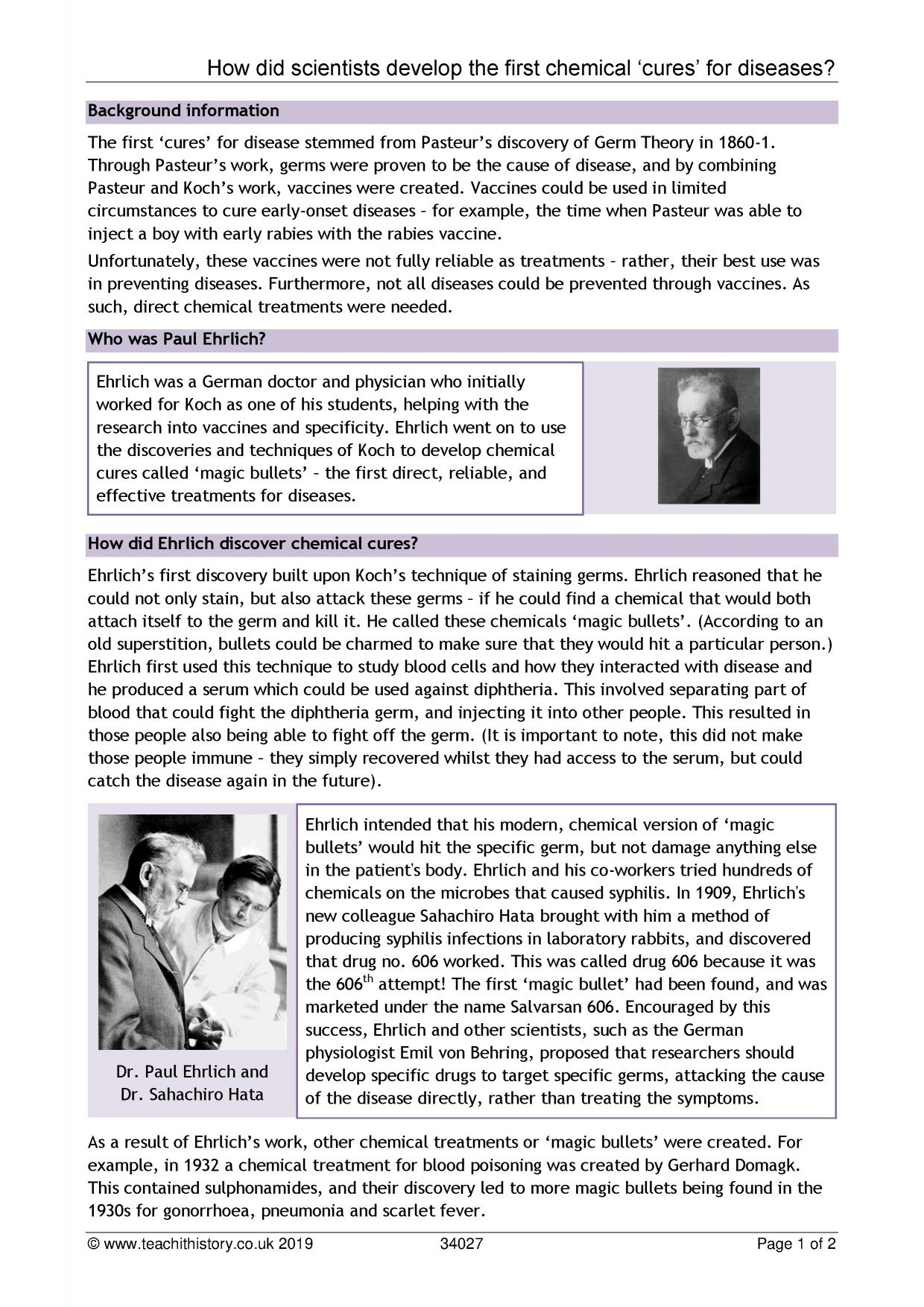 GCSE | History | Task sheet | How did scientists develop the