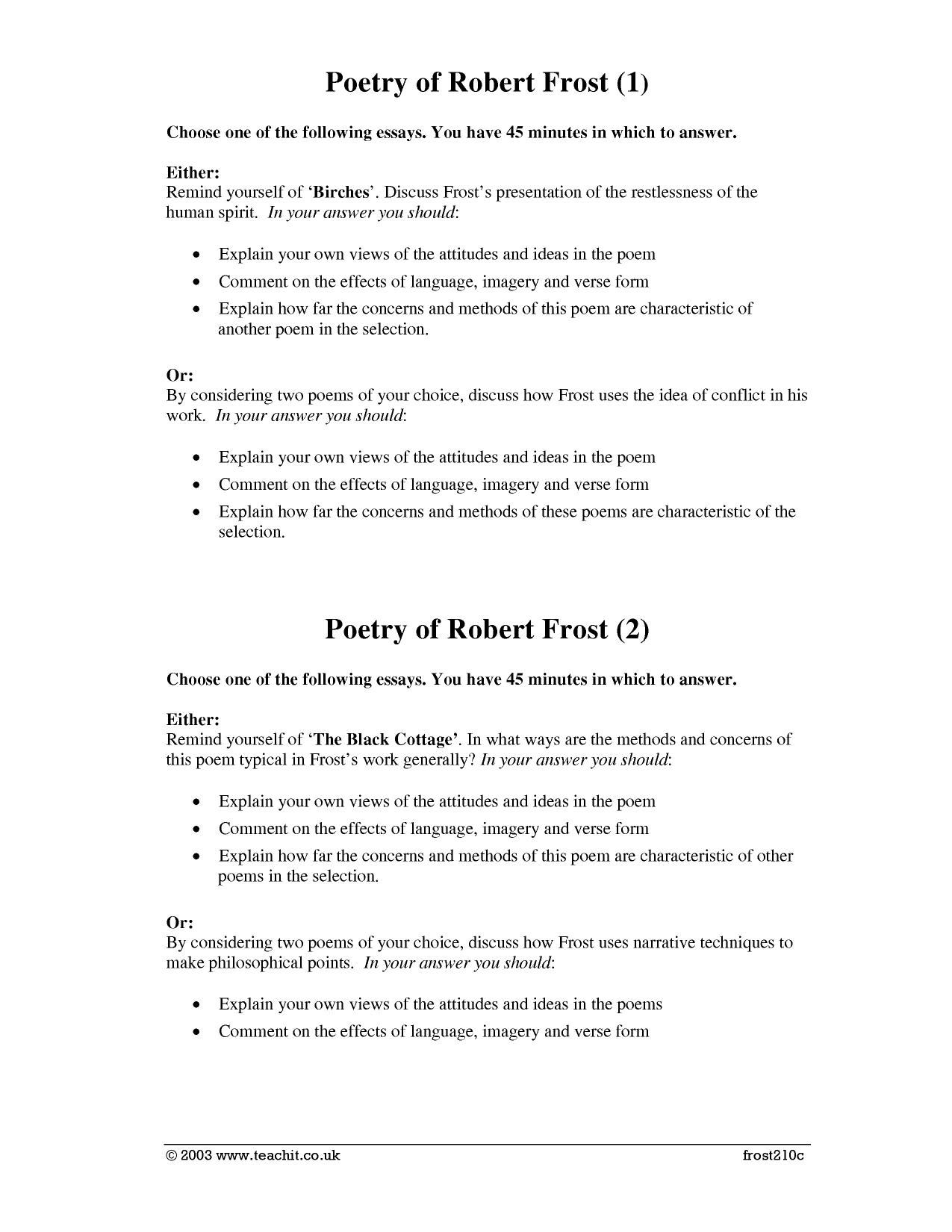 poetry robert frost essay Famous poetry - robert frost: poems study guide contains a biography of poet robert frost, literature essays, quiz questions, major themes, characters, and a full summary and analysis of his.