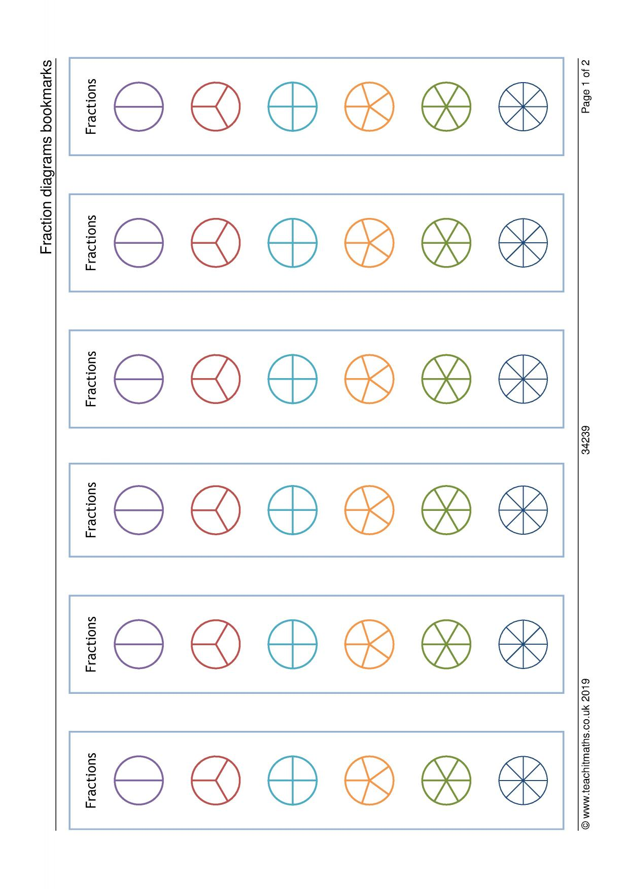Fraction Diagrams Bookmarks