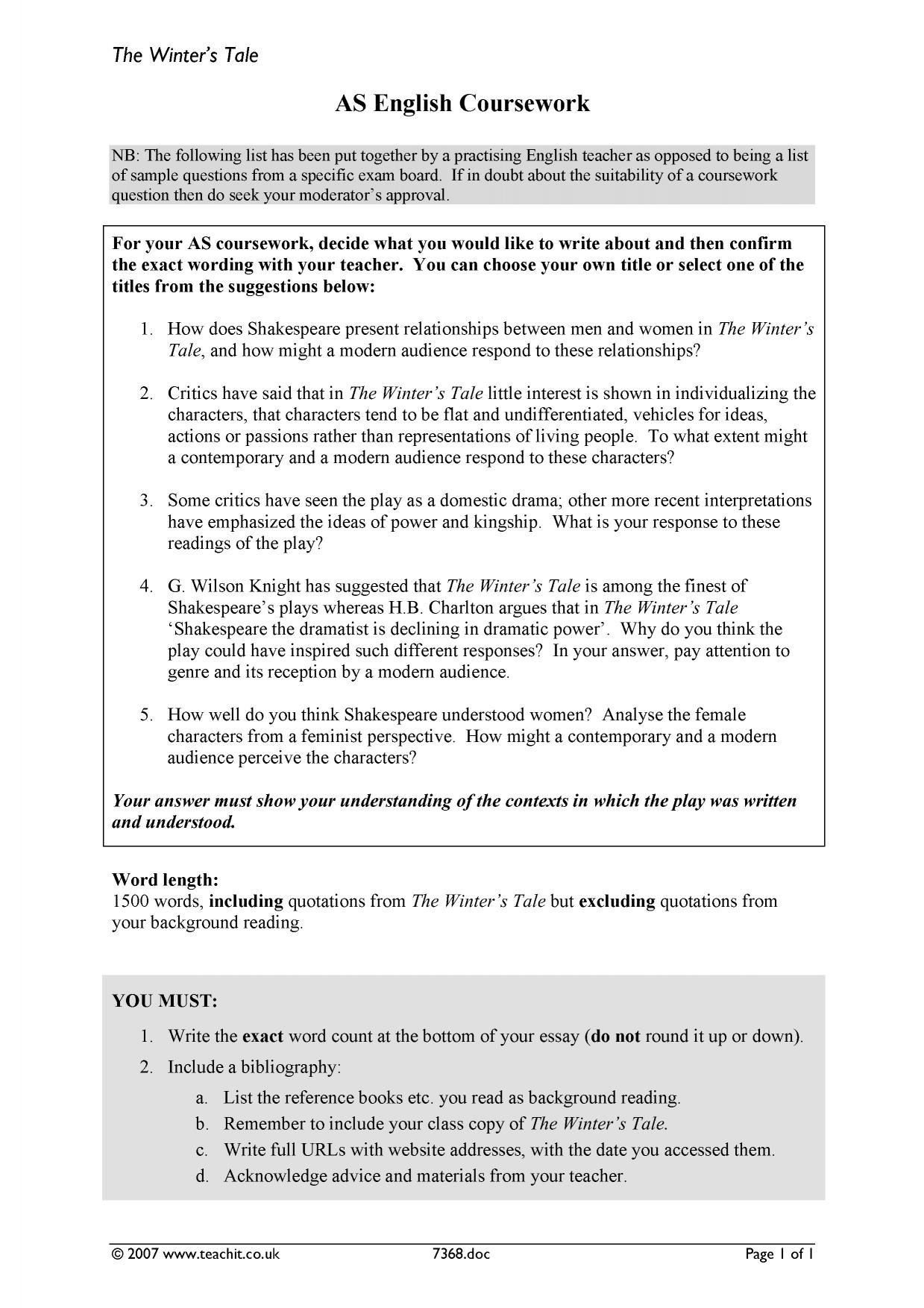 winter s tale essay questions