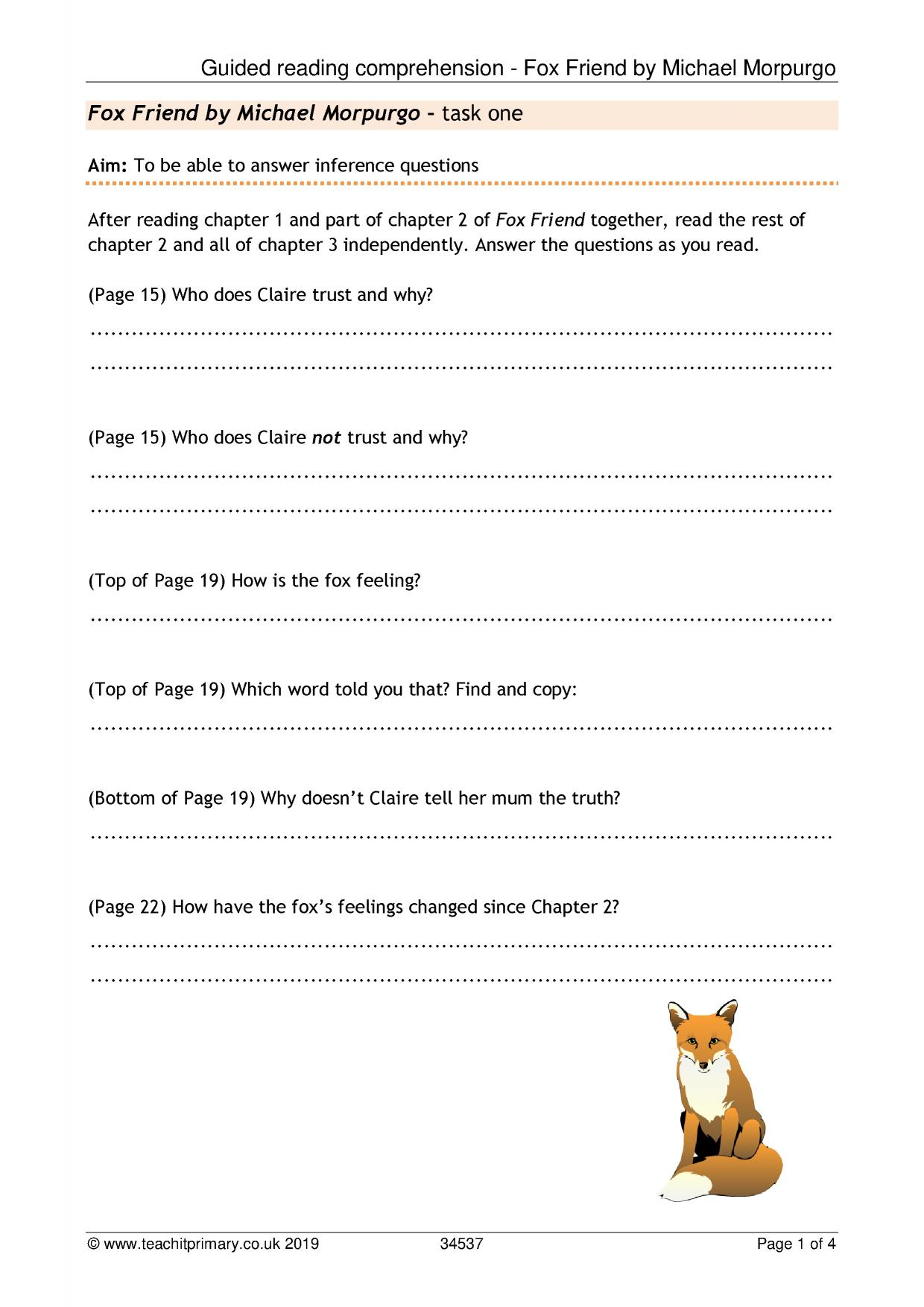 - Guided Reading Comprehension - Fox Friend By Michael Morpurgo
