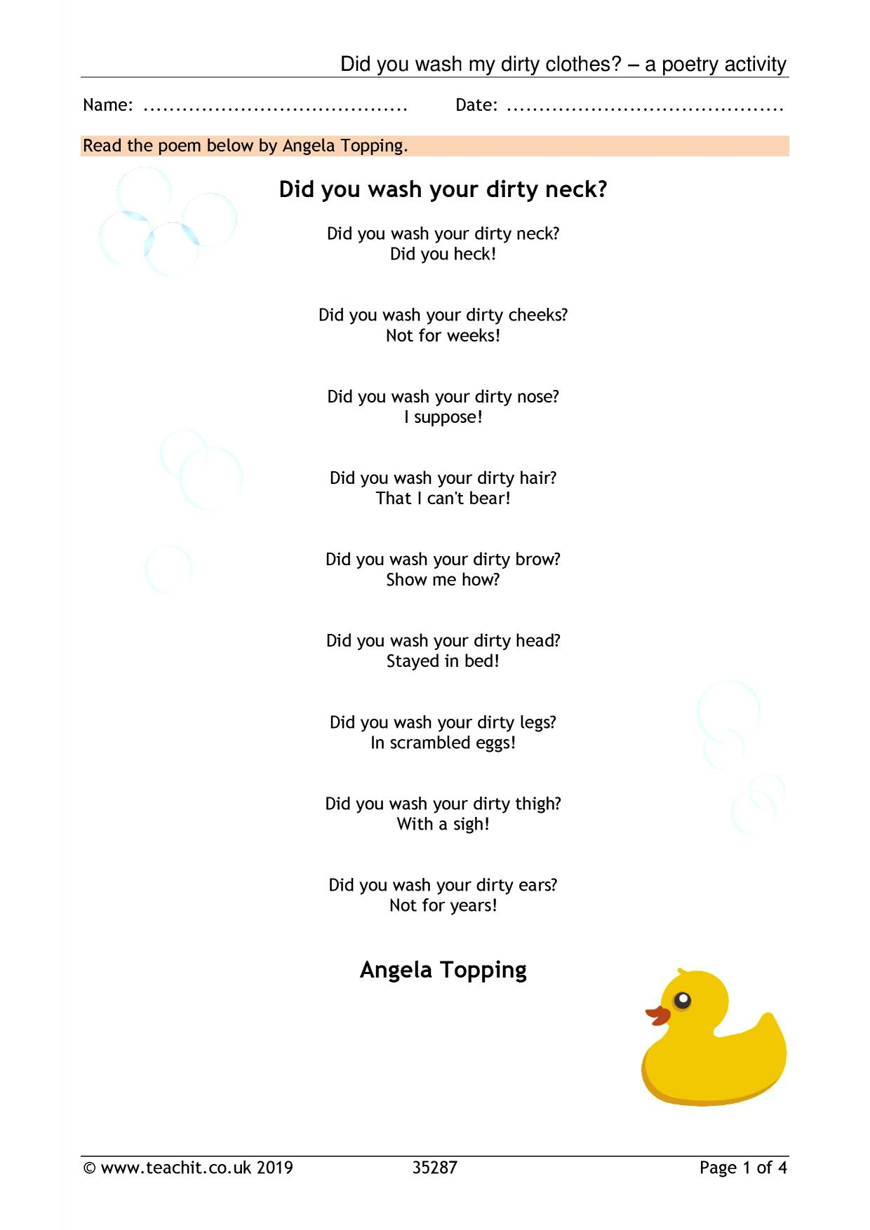 Poems On A Theme Search Results Teachit Primary