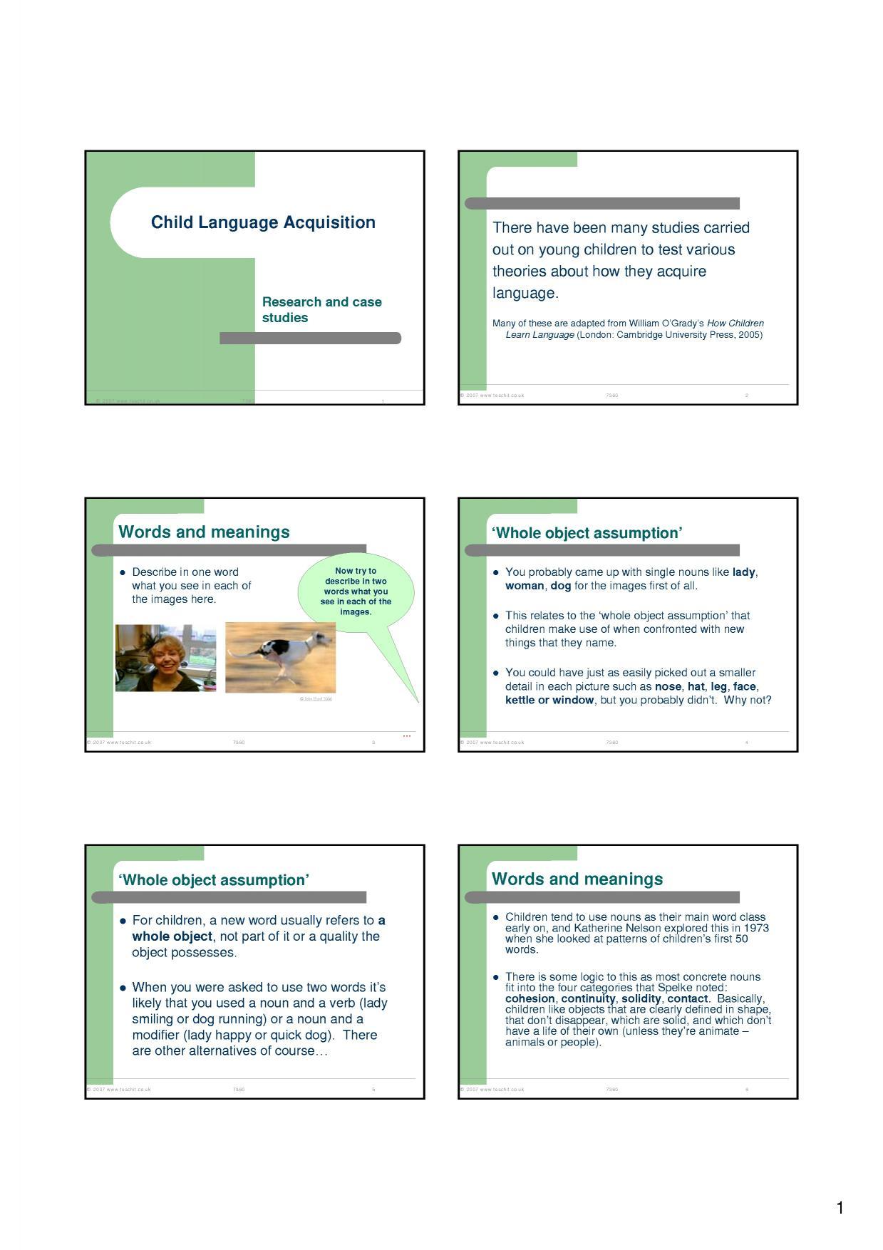 language acquisition in children essays