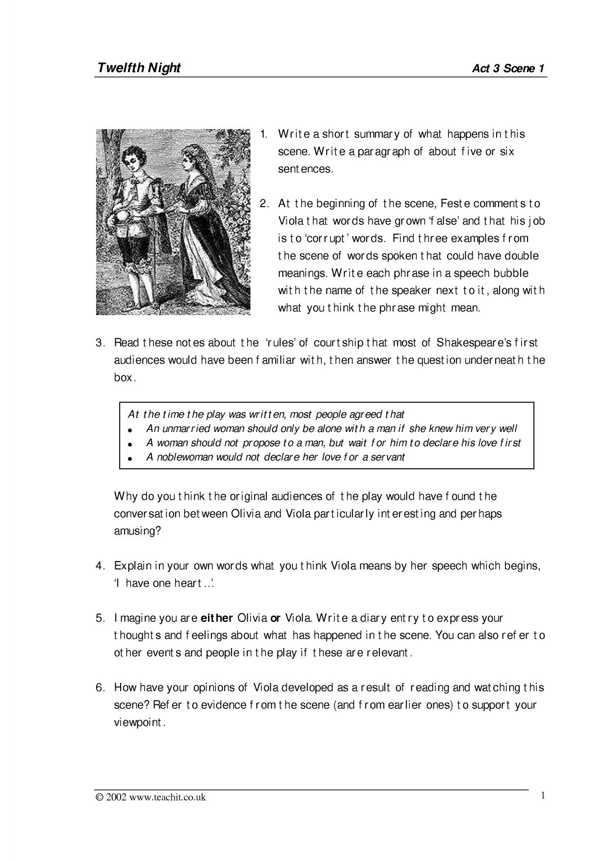 twelfth night act 1 3 A teacher's guide to the signet classic edition of william shakespeare's twelfth night 3 act i, scene v back at olivia's we meet feste, the clown, who will, from time to time, comment ironically on the characters and action.