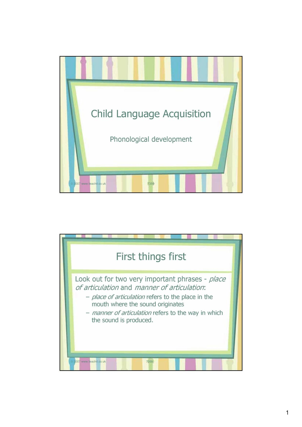 Children language acquisition essay
