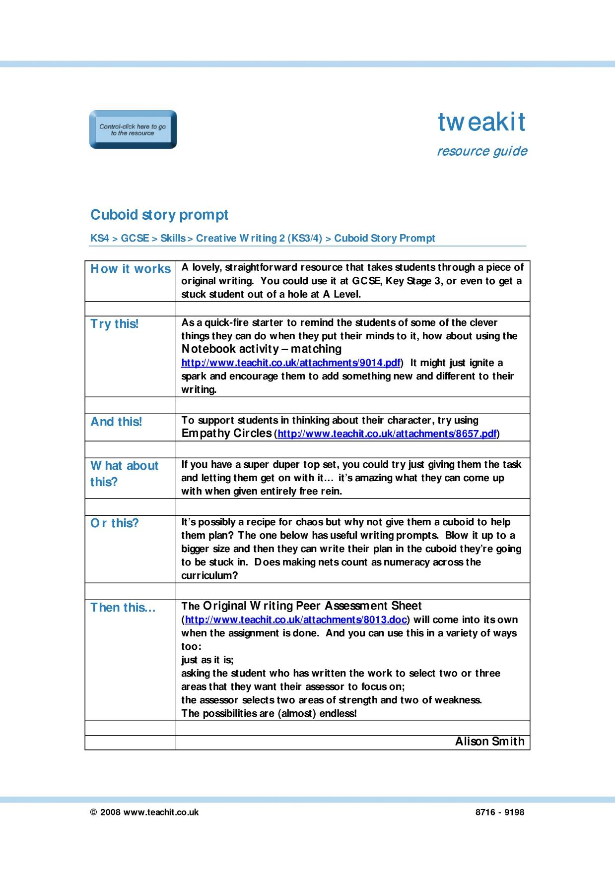 creative writing lesson plans ks3 Click here to browse through hundreds of our lesson plans and activities  this  creative writing prompt will help students build language and writing skills by.
