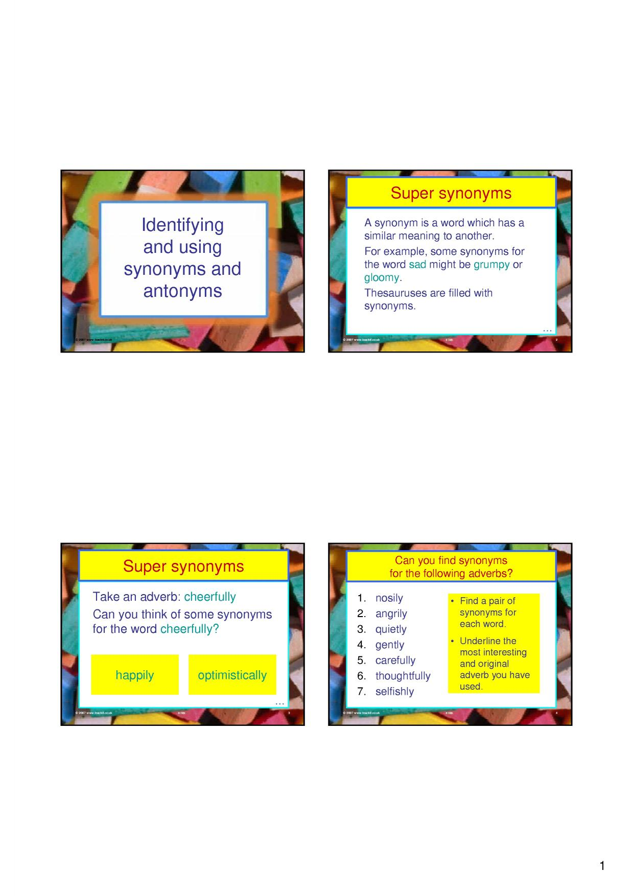 Ks3 Developing Vocabulary Teachit English